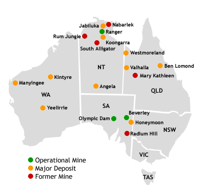 Australian Uranium Deposits, producing mines and defunct mines